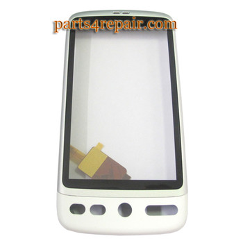 HTC Desire Touch Screen with Front Cover -White from www.parts4repair.com