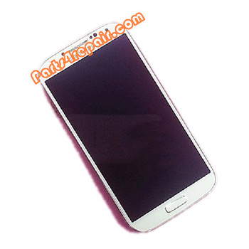 Complete Screen Assembly with Bezel for Samsung I9500 Galaxy S4 -White