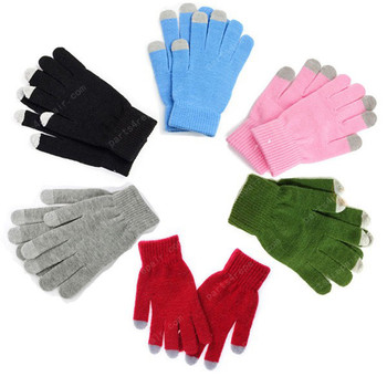 A Pair Magic Touch Screen Gloves Smartphone Texting Adult Winter Knit -Blue
