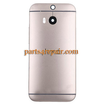 Back Cover with Side Keys for HTC One M8 -Gold
