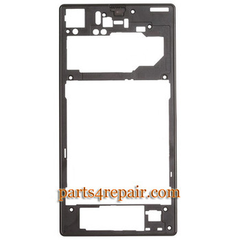 Rear Middle Cover for Sony Xperia Z1 L39H -Black from www.parts4repair.com