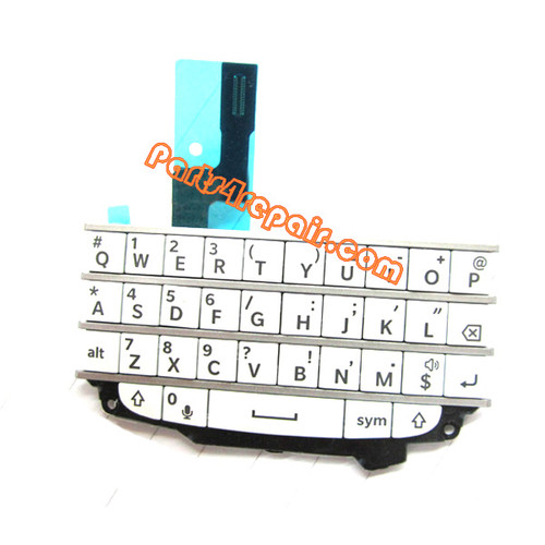 Keypad Board with Flex Cable for BlackBerry Q10 -White from www.parts4repair.com