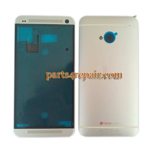 Full Housing Cover for HTC One M7 -Silver from www.parts4repair.com