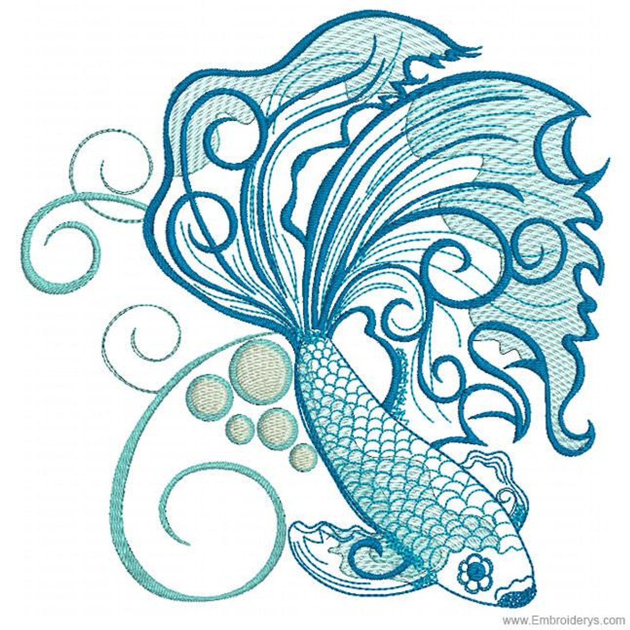 Betta Fish Machine Embroidery Designs Tattered Stitch Embroideries