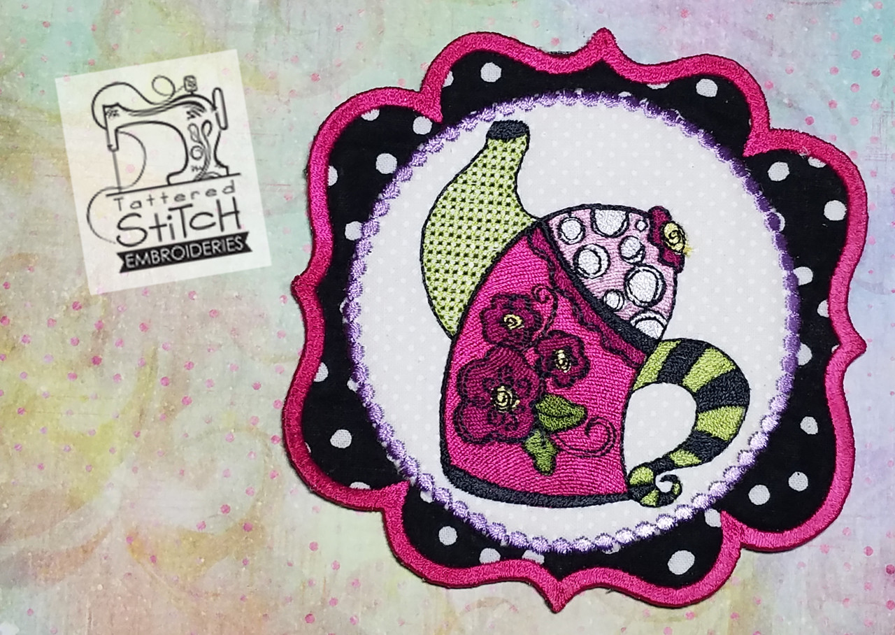 Whimsy Teapot 1 Mug Rugcoaster Machine Embroidery Design 5x7