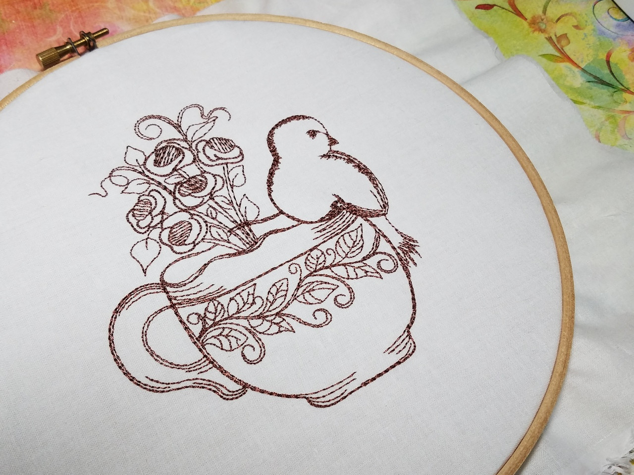Finch Vine Tea Rose Teacup - Machine Embroidery Design. 4x4 and 5x7 ...