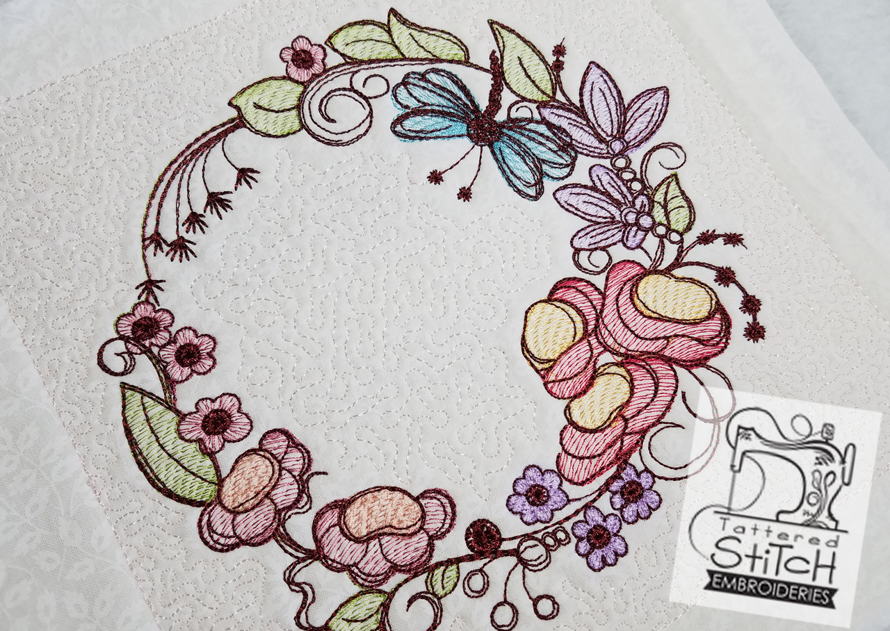 Floral Dragonfly Wreath - Machine Embroidery Design. 5x5, 6x6, 8x8 ...