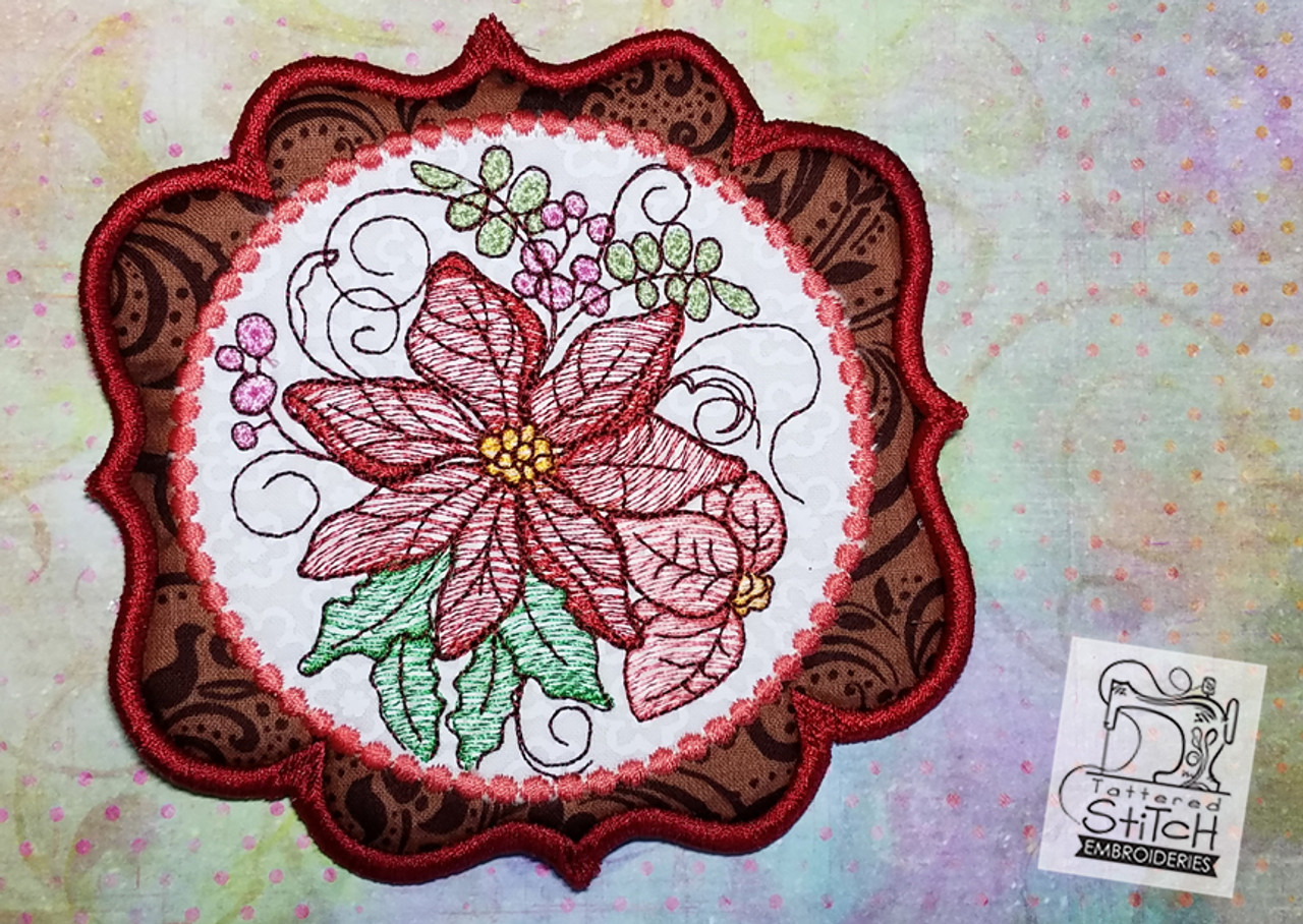 Poinsettia Mug Rug/Coaster - Machine Embroidery Design. 5x7 In The Hoop  Instant Download. In the hoop. Holiday Coaster Gift Giving