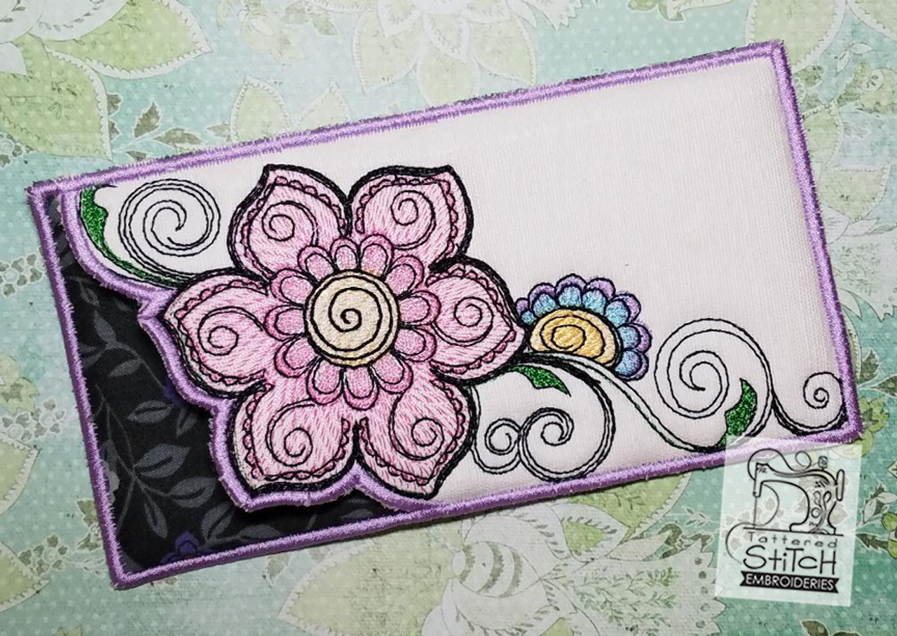 Floral Mehndi Glasses Case Machine Embroidery Design 5 X 7 Hoop