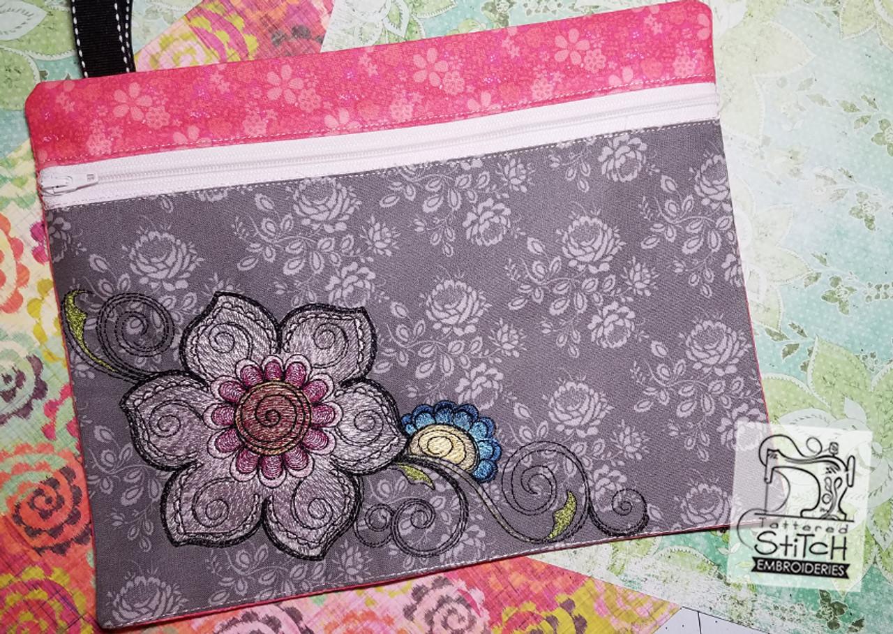 Mehndi Floral Zip Bag In The Hoop Machine Embroidery Design