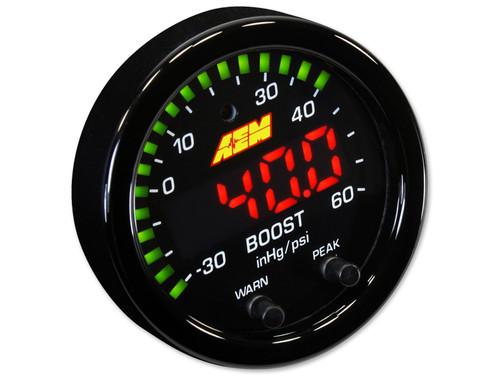 AEM 30-0308 X-Series Boost Pressure Gauge Kit 30in/Hg~60PSI