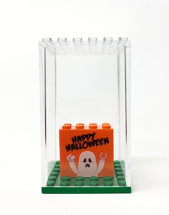 Happy Halloween Display Box with Custom Printed Bricks