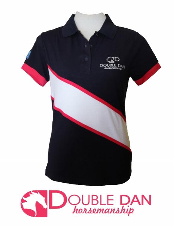 White/Pink Diagonal Stripe Polo Shirt