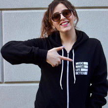 Music Makes Life Better Unisex Zip-Up Logo Hoodie