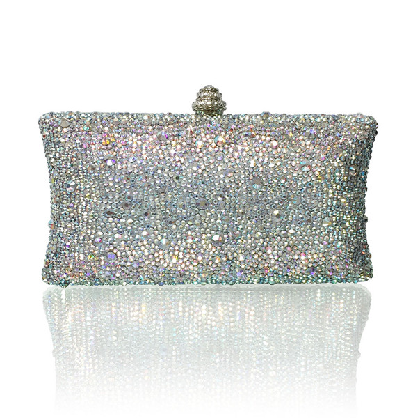 Mixed Size Crystals Large (iPhone Plus Friendly) Evening Clutch