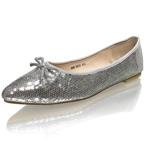 Pointed Toe Silver Sequins Formal Flats
