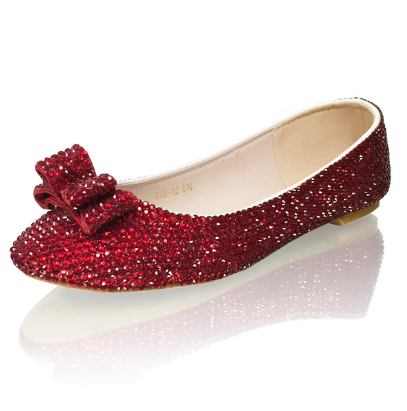 Ruby red crystal bridal flats with bow accent