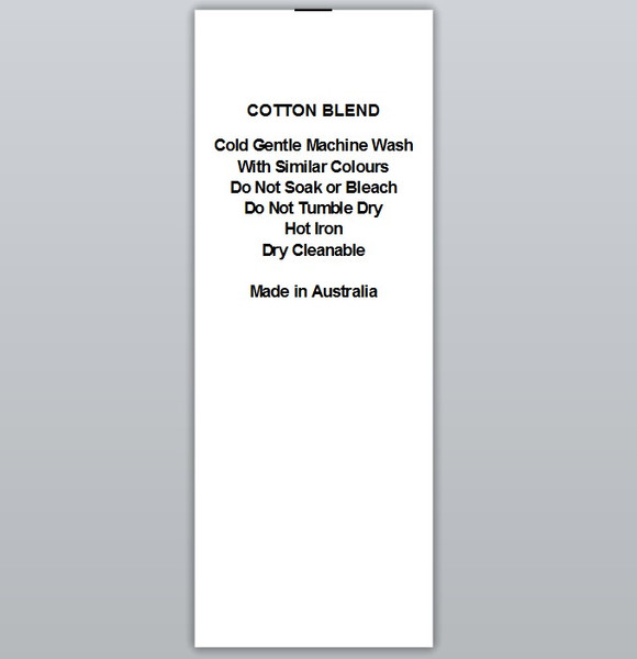 Cotton Blend Cold wash Hot iron Clothing Labels by Ted + Toot labels