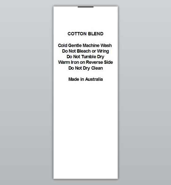 Cotton Blend Cold wash Warm iron Do not dry clean Clothing Labels by Ted + Toot labels
