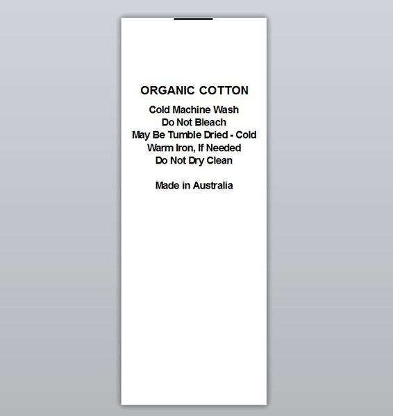 Organic Cotton Warm iron Clothing Labels by Ted + Toot labels