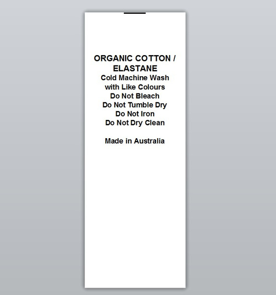 Organic Cotton / Elastane Clothing Labels by Ted + Toot labels