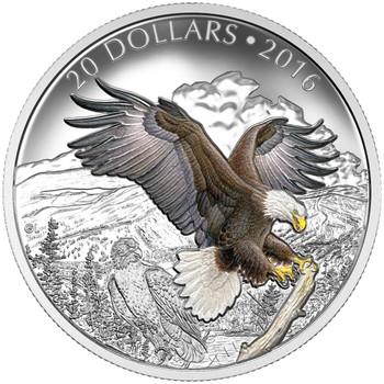 2016 $20 FINE SILVER COIN THE BARONIAL BALD EAGLE