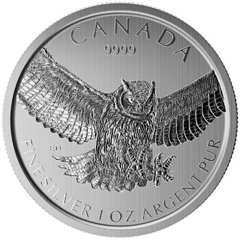 1oz. 2016 CANADIAN HORNED OWL SILVER COIN