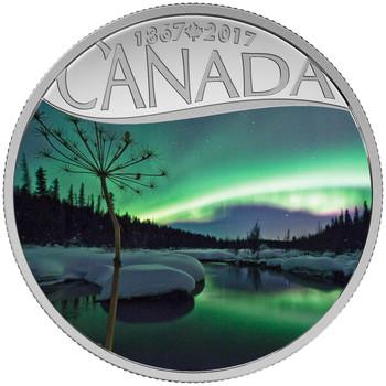 2017 $10 FINE SILVER COIN CELEBRATING CANADA'S 150TH: AURORA BOREALIS AT MCINTYRE CREEK