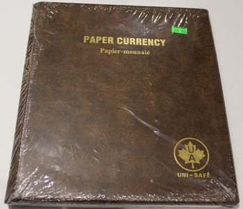 UNI-SAFE EMBOSSED BROWN COIN ALBUM - VOL 181 - PAPER CURRENCY (BILLS) PAPIER-MONNAIE
