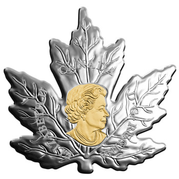 2017 $20 FINE SILVER COIN GILDED SILVER MAPLE LEAF
