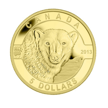 2013 $5 PURE GOLD COIN - 2ND IN O CANADA SERIES OF 5 - THE POLAR BEAR