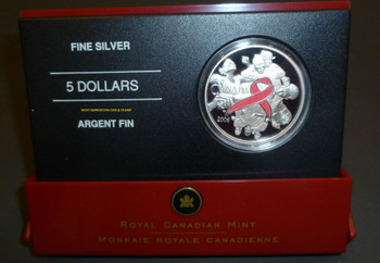 2006 $5 FINE SILVER COIN - PINK RIBBON