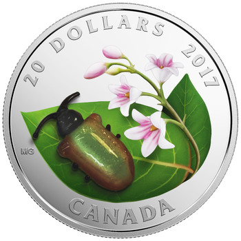 SALE - 2017 $20 FINE SILVER COIN LITTLE CREATURES: DOGBANE BEETLE