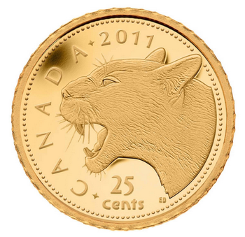 2011 25-CENT 0.5 GRAM FINE GOLD COIN - COUGAR