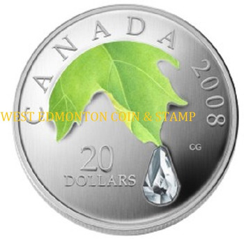 2008 $20 FINE SILVER COIN - CRYSTAL RAINDROP