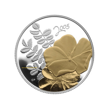 2005 50-CENT STERLING SILVER COIN - GOLDEN ROSE