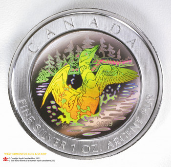 2002 $5 FINE SILVER COIN - HOLOGRAM LOON