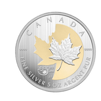 2013 $50 FINE SILVER COIN - 25TH ANNIVERSARY OF THE SILVER MAPLE LEAF