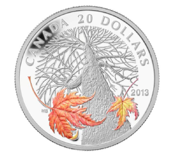2013 $20 FINE SILVER COIN - CANADIAN MAPLE CANOPY (AUTUMN)