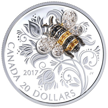 2017 $20 FINE SILVER COIN BEJEWELED BUGS: BEE