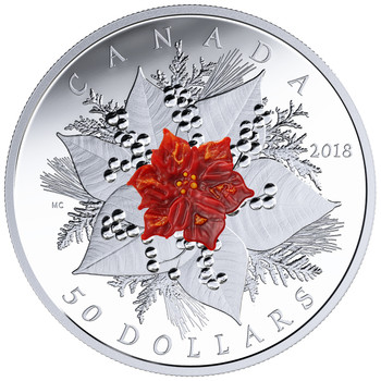 2018 $50 FINE SILVER COIN HOLIDAY SPLENDOUR
