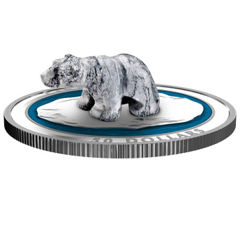 2018 $50 FINE SILVER COIN POLAR BEAR SOAPSTONE SCULPTURE