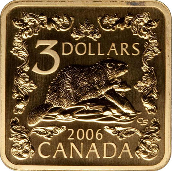 2006 $3 .925 STERLING SILVER SQUARE COIN THE BEAVER PLATED 24KT GOLD
