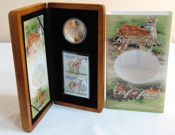 2005 CANADIAN STAMP & PURE SILVER $5 COIN SET. THE WHITE TALED DEER AND FAWN
