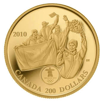 2010  $200 GOLD COIN - FIRST CANADIAN 22KT OLYMPIC GOLD METAL ON HOME SOIL