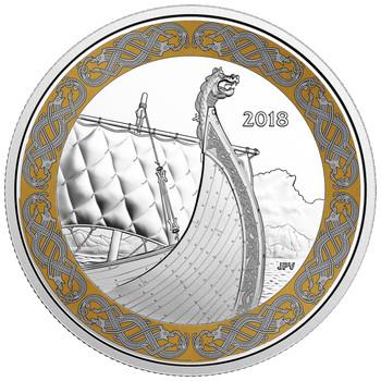 2018 $20 PURE SILVER COIN NORSE FIGUREHEADS: THE DRAGON'S SAIL