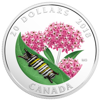 2018 $20 FINE SILVER COIN LITTLE CREATURES: MONARCH CATERPILLAR