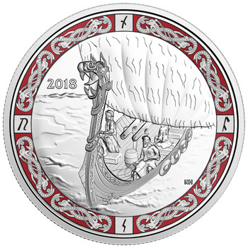 2018 $20 PURE SILVER COIN NORSE FIGUREHEADS: VIKING VOYAGE