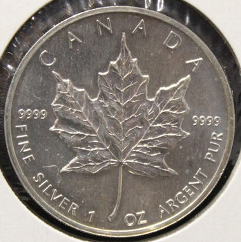 1oz. 1989 CANADIAN SILVER MAPLE LEAF COIN