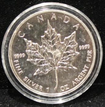 1oz. 1990 CANADIAN SILVER MAPLE LEAF COIN